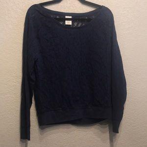 Victoria secret lace long sleeve shirt navy lace